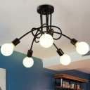 Industrial Twirled Ceiling Lighting 5 Heads Iron Chandelier Light Fixture for Dining Room