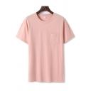 Summer Womens T Shirt Plain Chest Pocket Short Sleeve Crew Neck Loose Fit Tee Top