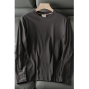 Simple Boys T Shirt Plain Long Sleeve Crew Neck Relaxed Fit Tee Top