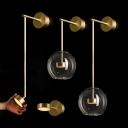 Clear Glass Sphere Wall Light Fixture Minimalist 1 Bulb Brass Finish LED Wall Sconce Lighting