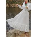 Cool Womens White Dress Chiffon Patchwork-Trim Ruffle Hem Hooded Maxi Long Sleeve A-Line Swing Dress
