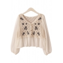 Pretty Womens Shirt Knitted Chiffon Patchwork Floral Embroidery Relaxed Fit Shirt Top