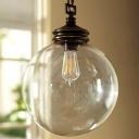 Sphere Clear Glass Pendant Light Antique 1-Light Dining Room Hanging Light Fixture