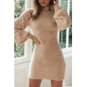 Trendy Women's Dress Solid Color Mohair Mock Neck Long Bishop Sleeve Mini Dress