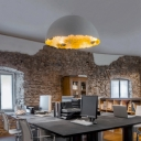 Moon Restaurant LED Suspension Light Resin Art Decor Pendant Light Fixture in Grey