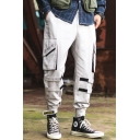 Men's New Stylish Letter Printed Velcro Embellished Multi-pocket Street Trendy Cargo Pants