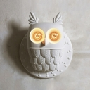 White Owl Wall Sconce Light Decorative 2-Bulb Resin Wall Mounted Light for Corridor