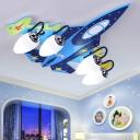 Airplane Boys Bedroom Flush Lamp Oval White Glass 4-Light Creative Ceiling Mount Light in Blue