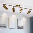 Cylinder Semi Flush Spotlight Minimalist Metal Clothes Shop LED Track Light Kit in Brass