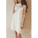 Women's Fancy Feather Tassel Round Neck Sleeveless White Mini Chiffon Tank Dress
