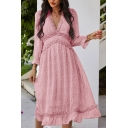 Chic Womens Dress Ditsy Floral Pattern Frill-Trimmed Midi Deep V Neck 3/4 Sleeve A-Line Dress
