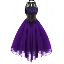 Vintage Womens Dress Lace Patched Halter Backless Lace Up Waist Mid Pleated Swing Dress