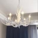 Resin Antler Shaped Suspension Lighting Minimalist Living Room Chandelier Light Fixture