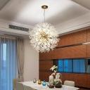 Crystal Beaded Dandelion Chandelier Modernist Hanging Pendant Light for Dining Room