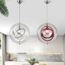 Designer Interlocking Rings Hanging Light Metal 1-Light Restaurant Pendant with Globe Clear Glass Shade