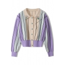 Popular Womens Cardigan Purple Stripe Print Beading Long Sleeve Spread Collar Button Up Regular Cardigan