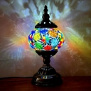 Hand-Cut Stained Glass Globe Night Light Retro Style 1 Head Bedroom Table Lighting