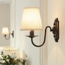 1-Light Conic Wall Light Kit Retro White Fabric Sconce Light Fixture with Black Curved Arm
