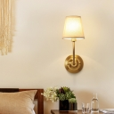 Brass Finish Single Sconce Light Minimalist Fabric Conical Wall Mounted Lamp for Dining Room
