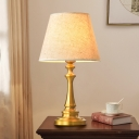 Brass Finish Single Table Lighting Traditional Fabric Conical Night Lamp with Baluster Base
