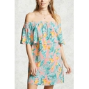 Holiday Girls Dress Allover Floral Print Off Shoulder Ruffled Short Relaxed Dress in Pink