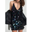Party Girls Dress Sequins Decoration Spaghetti Straps Deep V-neck Cut Out Back Short A-line Cami Dress in Black