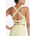 Basic Women's Cami Top Solid Color Criss Cross Sleeveless Scoop Neck Fitted Active Tank Top