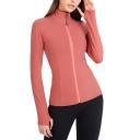 Fancy Women's Workout Jacket Flatlock Stitching Zip Closure Long Sleeve Slim Fitted Training Jacket