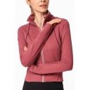 Fashionable Women's Training Jacket Plain Zip Closure Long Sleeve Regular Fitted Workout Jacket