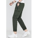 Mens Plain Drawstring Waist Zip Pocket Flap Pocket Side Cotton Cropped Tapered Pants
