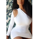 Stylish Womens Dress Solid Color Single Sleeve Cut Out Mini Tight Dress