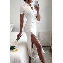 Amazing Dress Plain Short Sleeve Spread Collar Oblique Frog Button Up Slit Side Mid Fitted Shirt Dress in Milky White