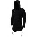 Mens Casual Solid Color Long Sleeve Zip Embellished Longline Asymmetric Hoodie