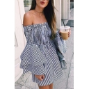 Womens Trend Vertical Striped Printed Bell Sleeve Off the Shoulder Mini A-Line Dress