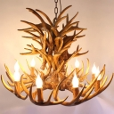 Faux Antler Living Room Chandelier Rustic Resin Hanging Light Fixture with Open Bulb Design