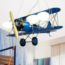 Biplane Hanging Light Fixture Kids Milky Glass 4-Light Bedroom Pendant Chandelier