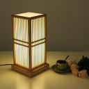 Japanese Style Weaving Shade Table Light Bamboo 1 Head Tea Room Night Lamp in Wood