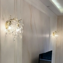 Crystal Leaf Shaped Wall Lamp Fixture Postmodern 2 Heads Light-Gold Sconce Wall Lighting