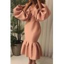 Womens Elegant Dress Solid Color Blouson Sleeve V-neck Ruffled Hem Mid Fishtail Dress for Dinner