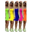 Womens Summer Dress Plain Scoop Neck Mini Sheath Tank Dress