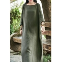 Womens Chinese Style Dress Linen and Cotton Long Sleeve Round Neck Solid Color Long Oversize Dress