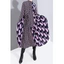 Fashion Womens Dress Letter Print Long Sleeve Bow Tied Neck Gathered Waist Mid A-line Dress in Purple