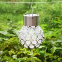 Hollow Sphere Outdoor LED Suspension Light Stainless-Steel Decorative Solar Pendant Light in Clear, 1 Pc