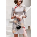Casual Cheongsam Dress Floral Leaf Embroidery Frog Buttons Contrast Trim Side Splits Fitted Mandarin Collar 3/4 Sleeve Midi Dress for Women