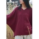 Basic Womens T Shirt Linen Solid Color Batwing Sleeve V-neck Oversize T Shirt
