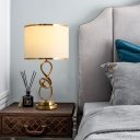 Art Decor Drum Shade Table Lighting 1-Light Fabric Nightstand Lamp with Metallic Twist for Bedside