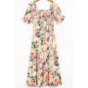 Popular Womens Dress Flower Printed Short Sleeve Square Neck Mid A-line Dress in Apricot