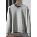 Guys Fashion Sweatshirt Embroidered Long Sleeve Crew Neck Relaxed Fit Pullover Sweatshirt