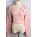 Lovely Girls Cardigan Floral Embroidery Long Sleeve V-neck Button Up Relaxed Crop Knit Cardigan