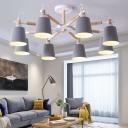 Macaron Style Horn Shaped Chandelier Light Metallic Living Room Hanging Lamp with Sputnik Design